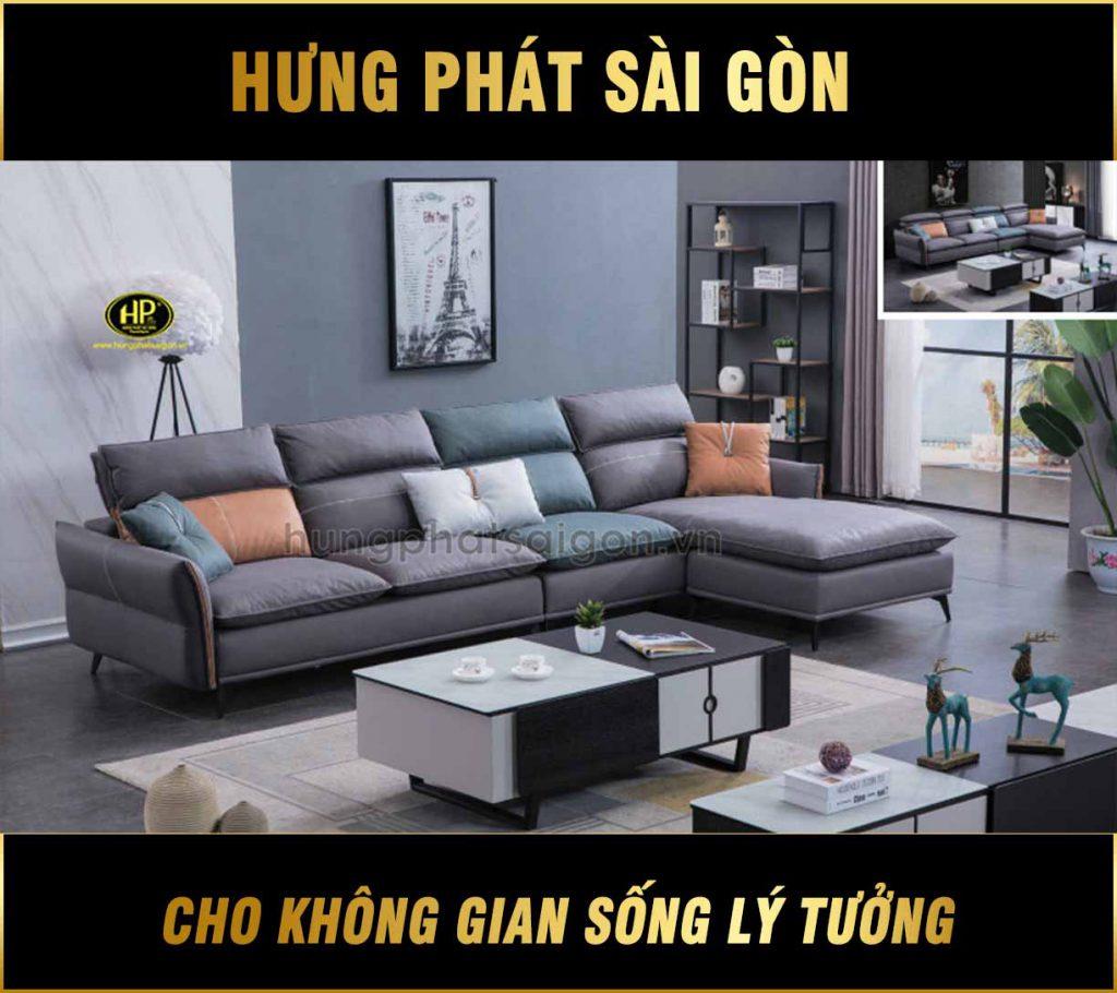 Sofa da cao cấp hiện đại H-663