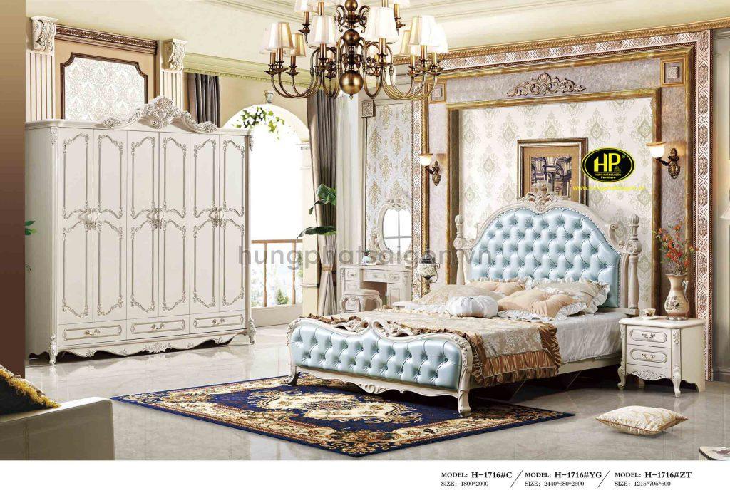 Trộn bộ giường tủ bàn phấn tân cổ điển TP-1716