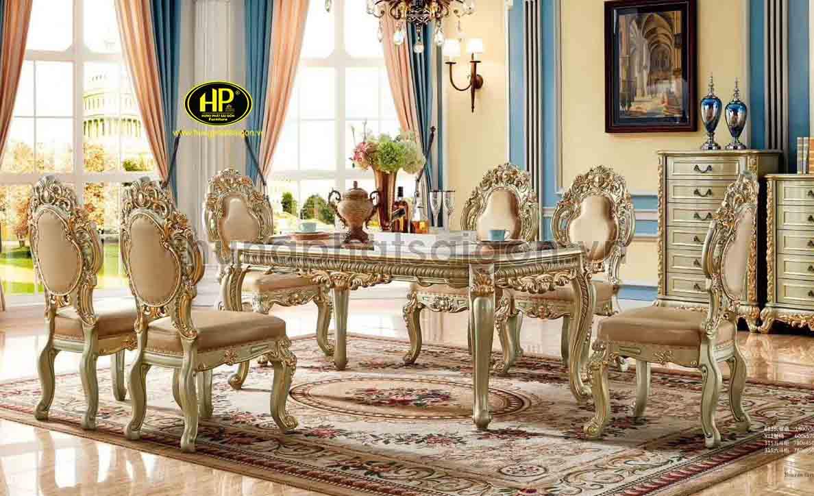 Bàn ăn tân cổ điển với thiết kế sang trọng, đẳng cấp là sự lựa chọn hoàn hảo cho gia đình bạn