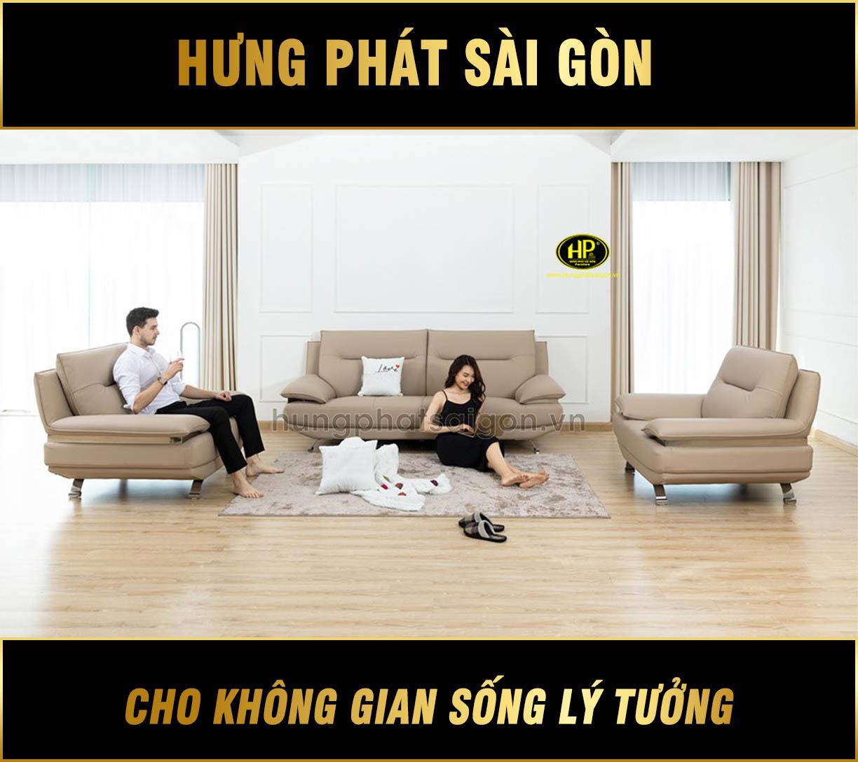 Bộ 3 ghế sofa da phòng khách H-199