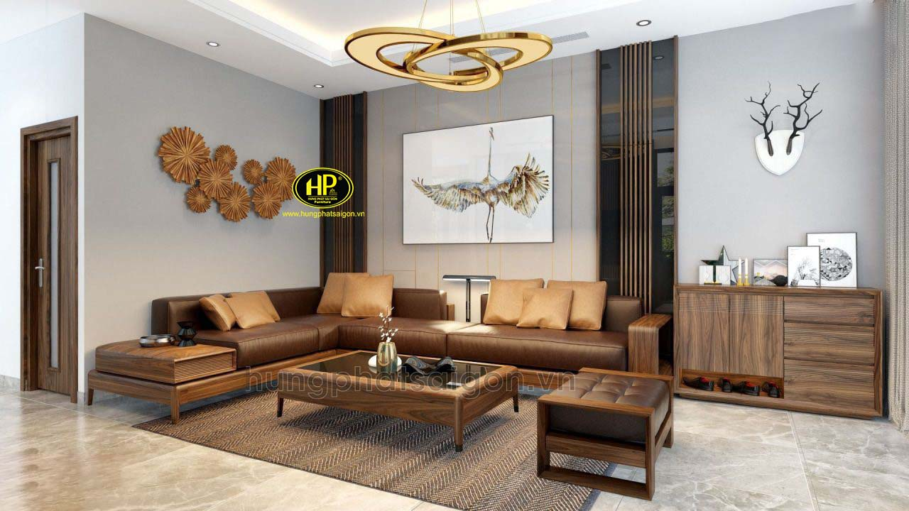Bộ ghế sofa gỗ cao cấp sang trọng HS-37