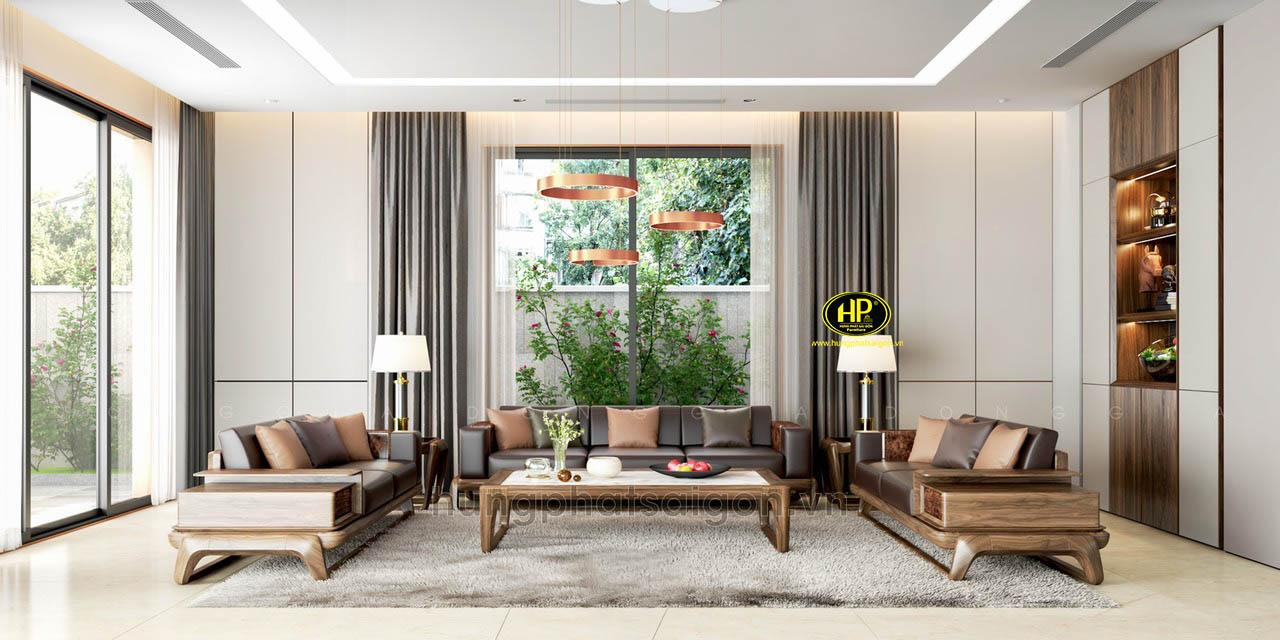 Bộ ghế sofa gỗ sồi cao cấp HS-34