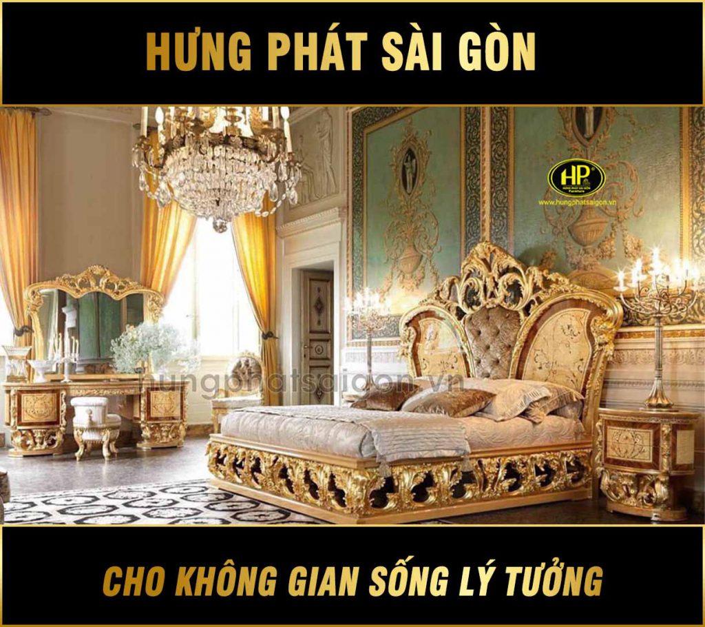 Bộ giường ngủ dát vàng hoàng da GV-01