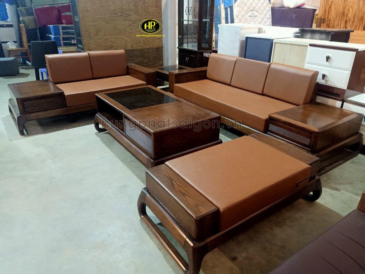 Bộ sofa gỗ sồi cao cấp HS-17