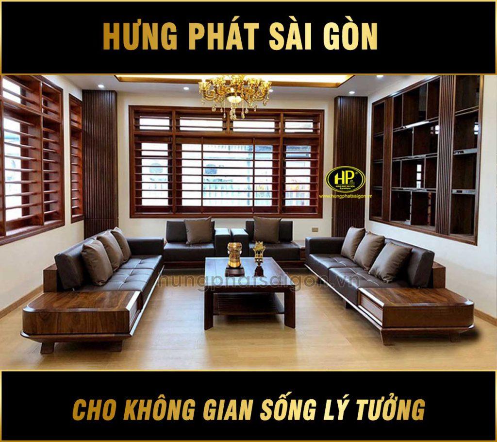 Bộ sofa phòng khách gỗ sồi HS-32