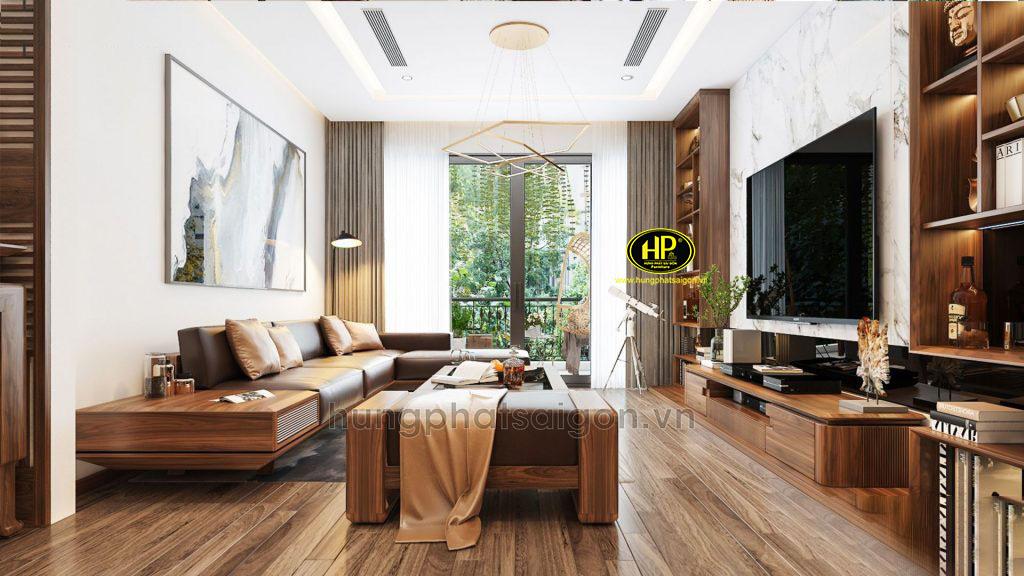 Ghế sofa gỗ góc L cao cấp HS-36