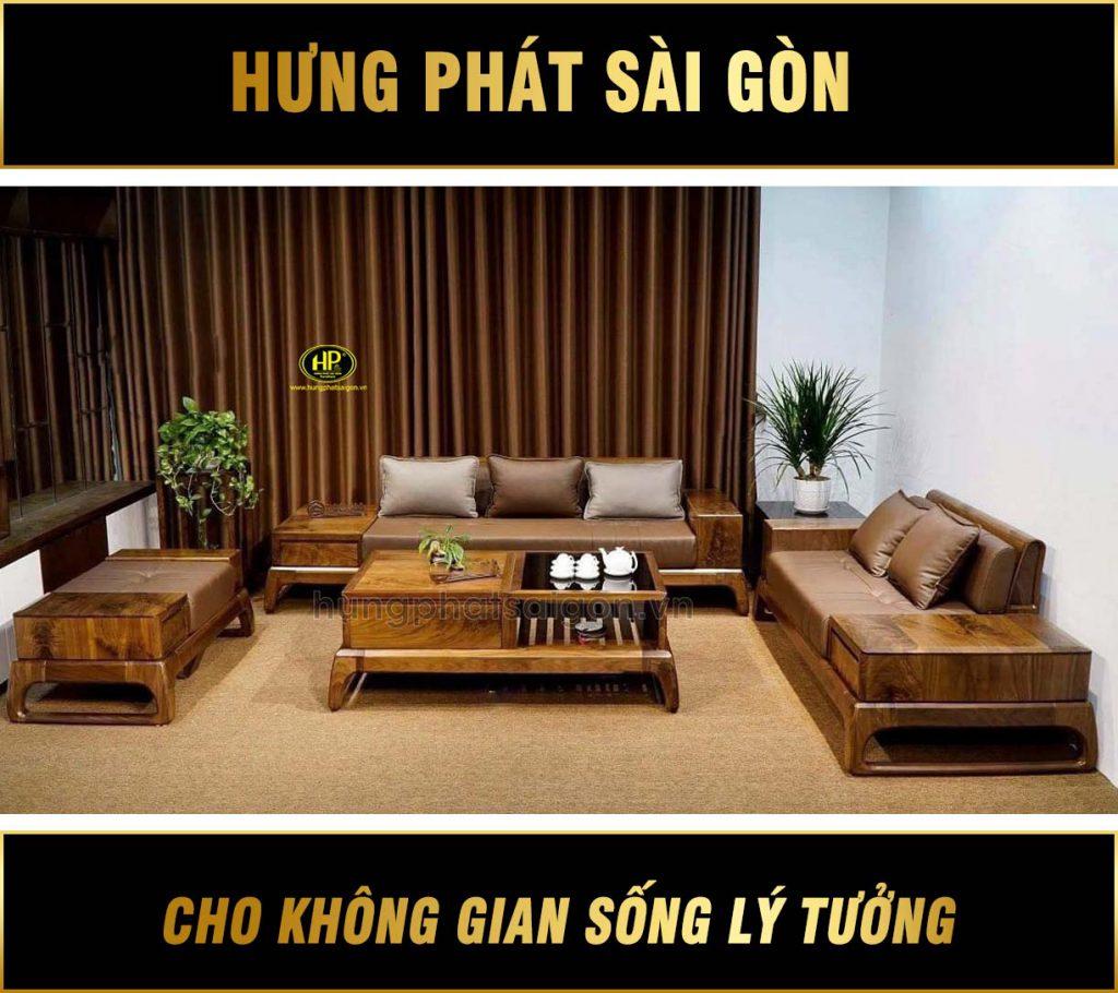 Ghế sofa gỗ óc chó hiện đại HO-03
