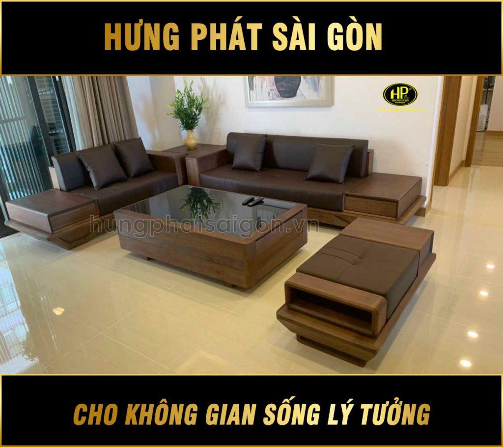 Ghế sofa gỗ sồi Nga cao cấp HS-15