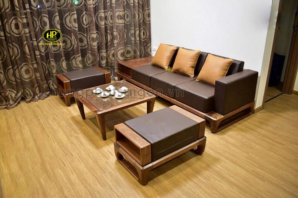Ghế sofa gỗ sồi Nga đơn giản hiện đại HS-18