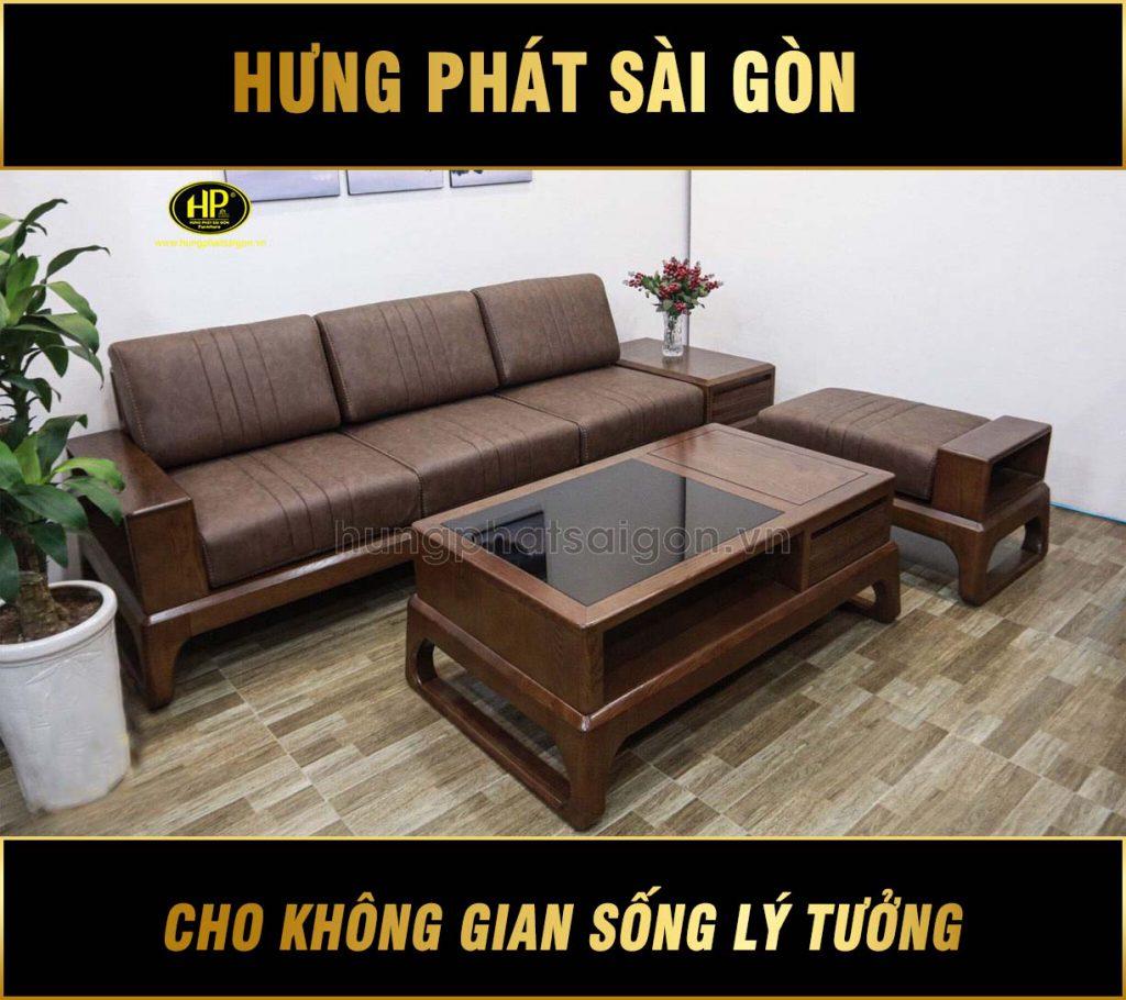 Ghế sofa gỗ sồi Nga mẫu mới nhất HS-23