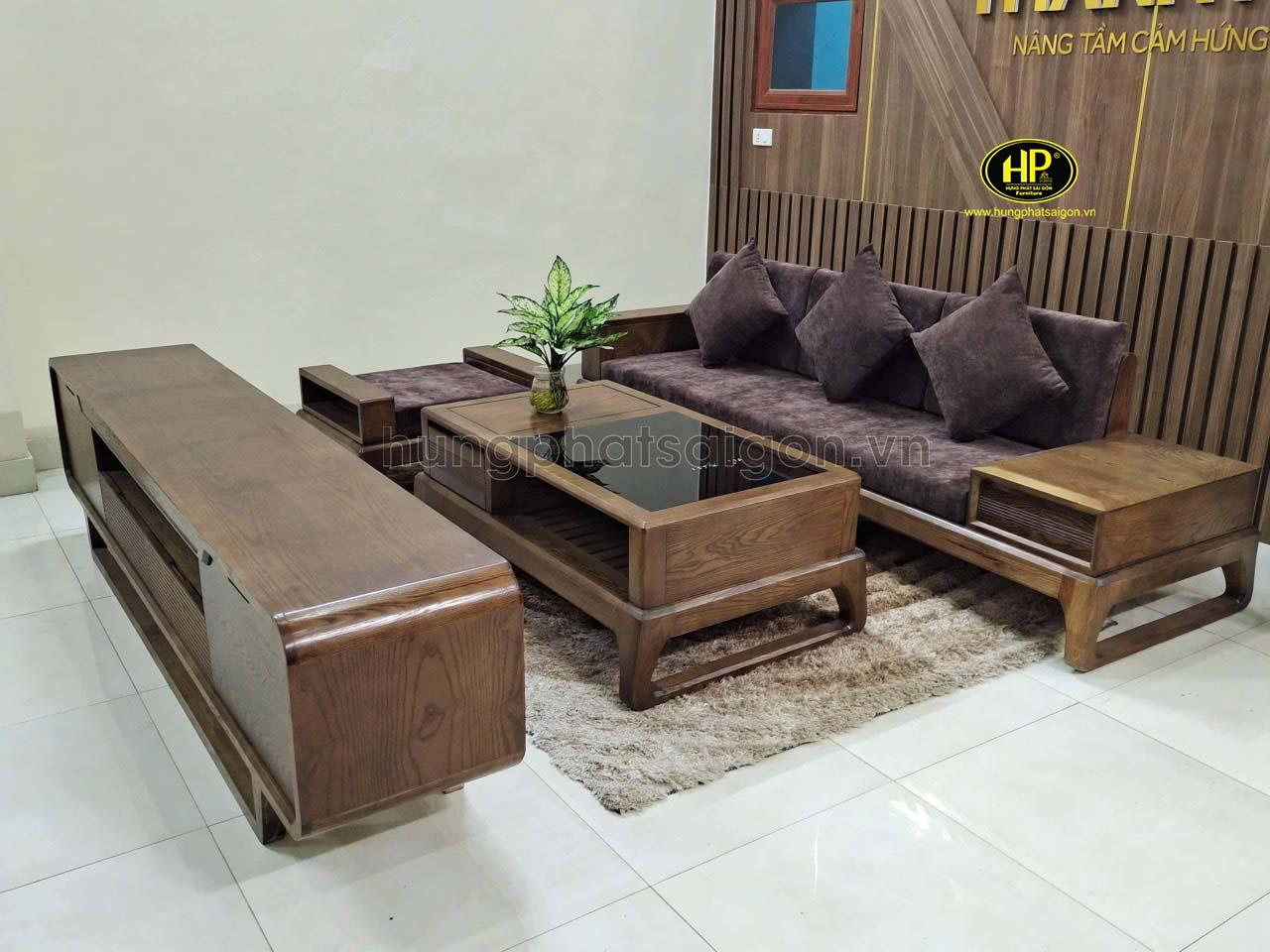 Ghế sofa gỗ sồi đơn giản sang trọng HS-12