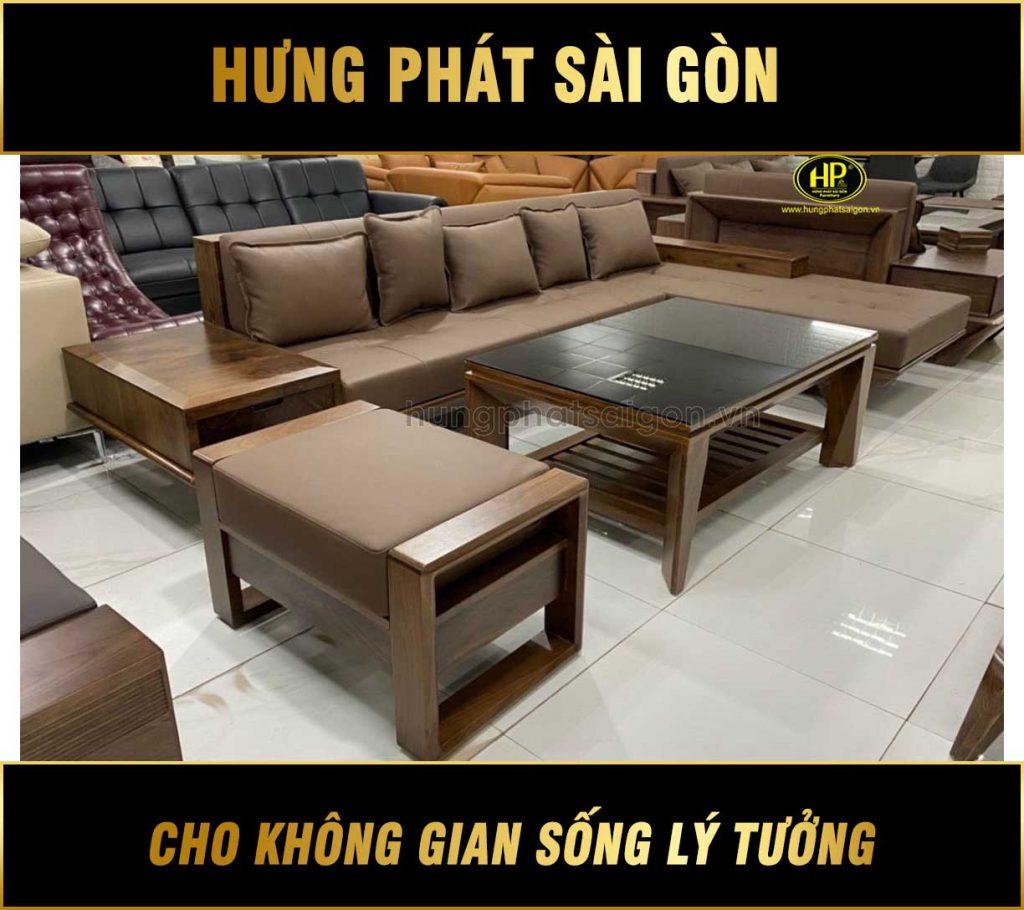 Ghế sofa gỗ sồi giá rẻ HS-14