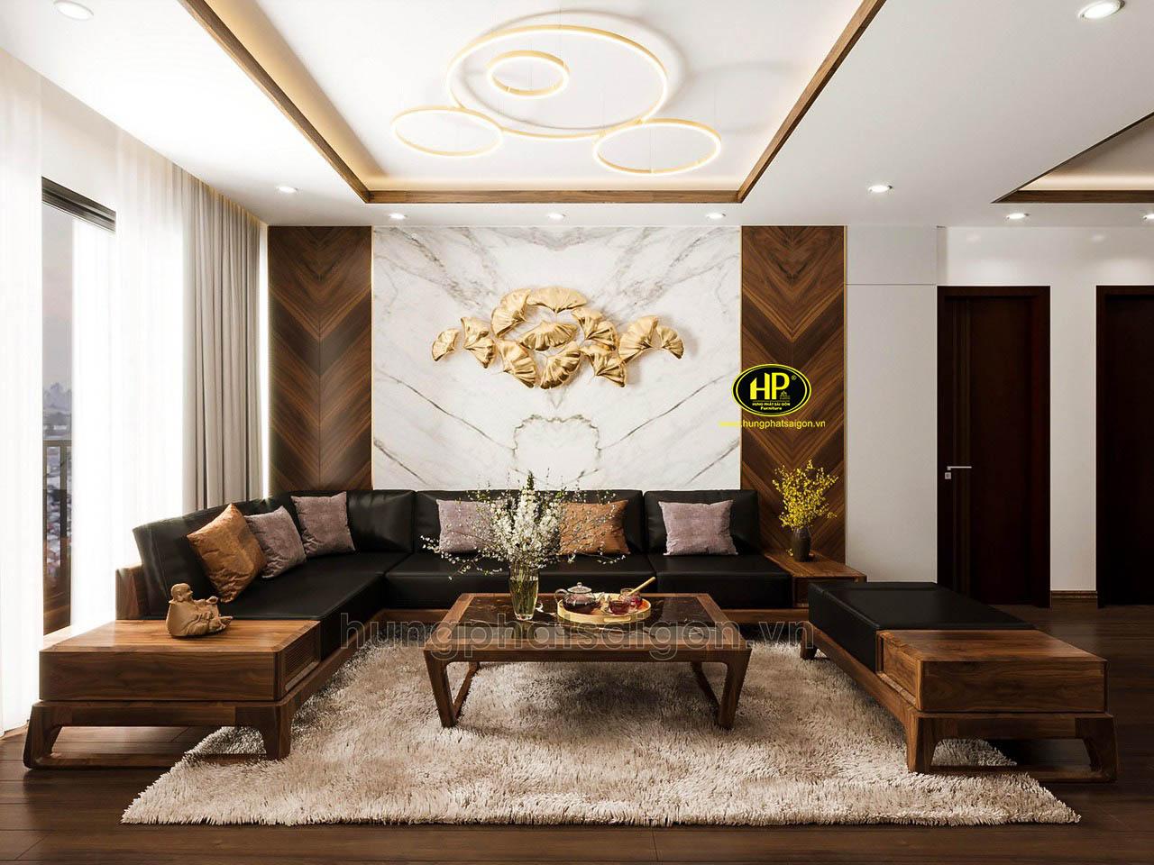 Ghế sofa gỗ sồi góc L cao cấp HS-40