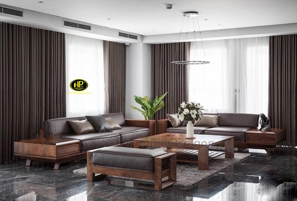 Ghế sofa gỗ sồi hiện đại HS-04