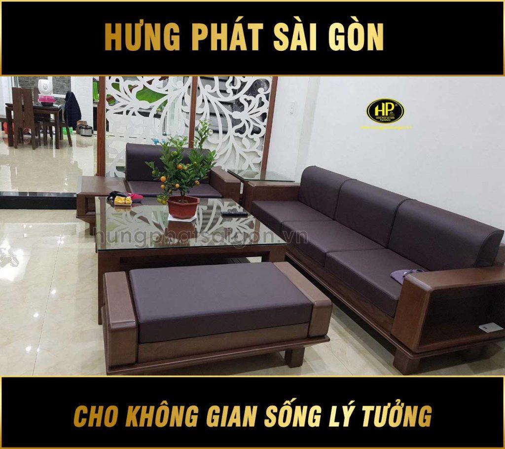 Ghế sofa gỗ sồi hiện đại cho phòng khách HS-21
