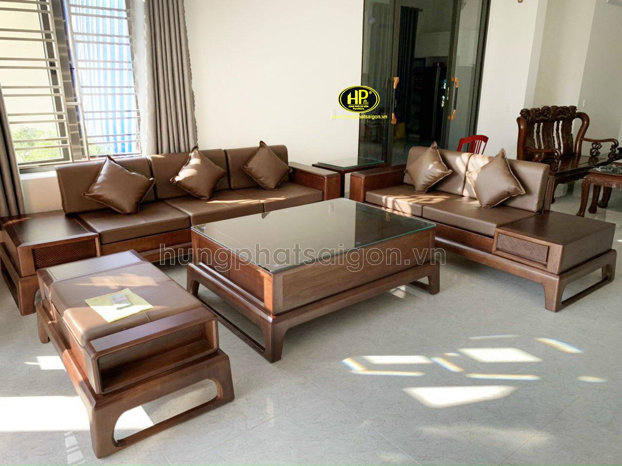 Ghế sofa gỗ sồi sang trọng HS-19