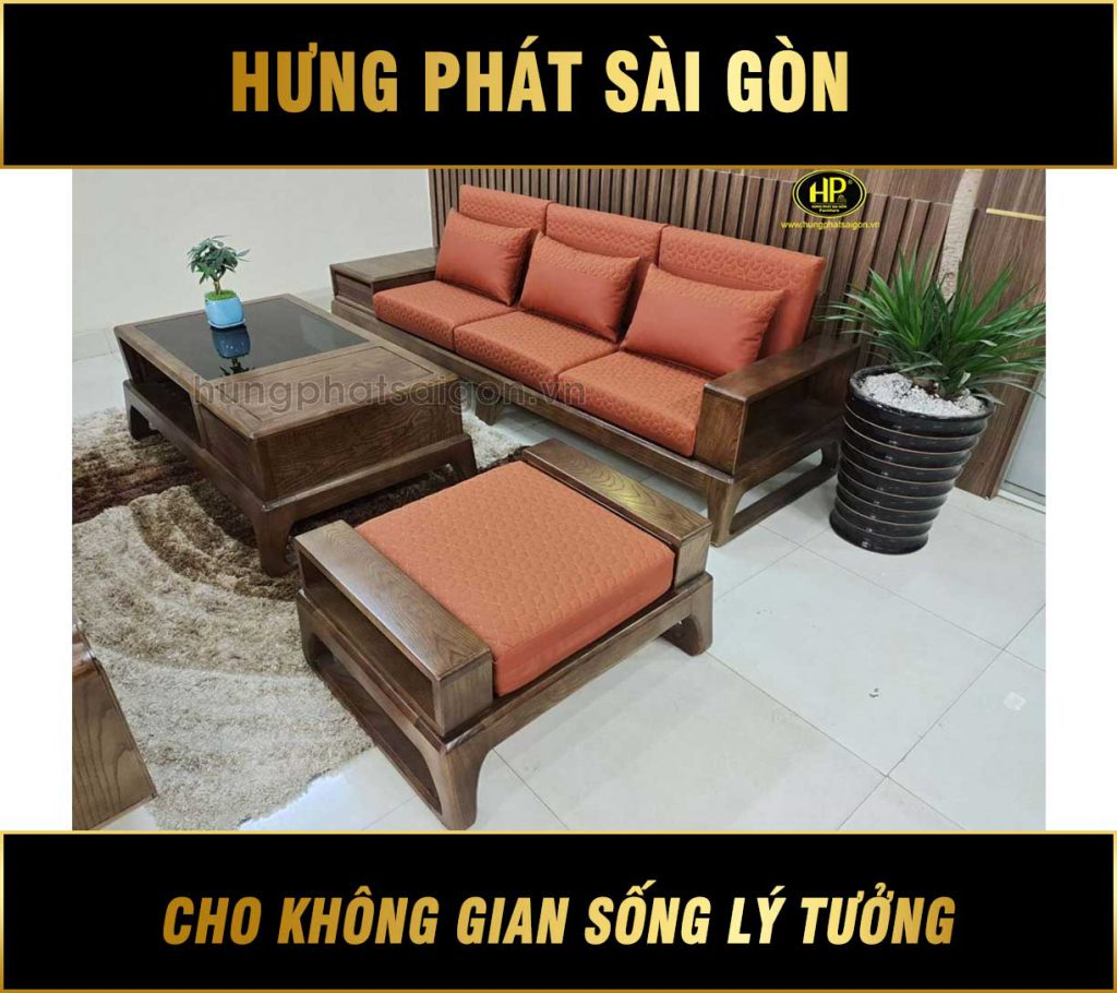 Ghế sofa gỗi sồi hiện đại nhập khẩu HS-16