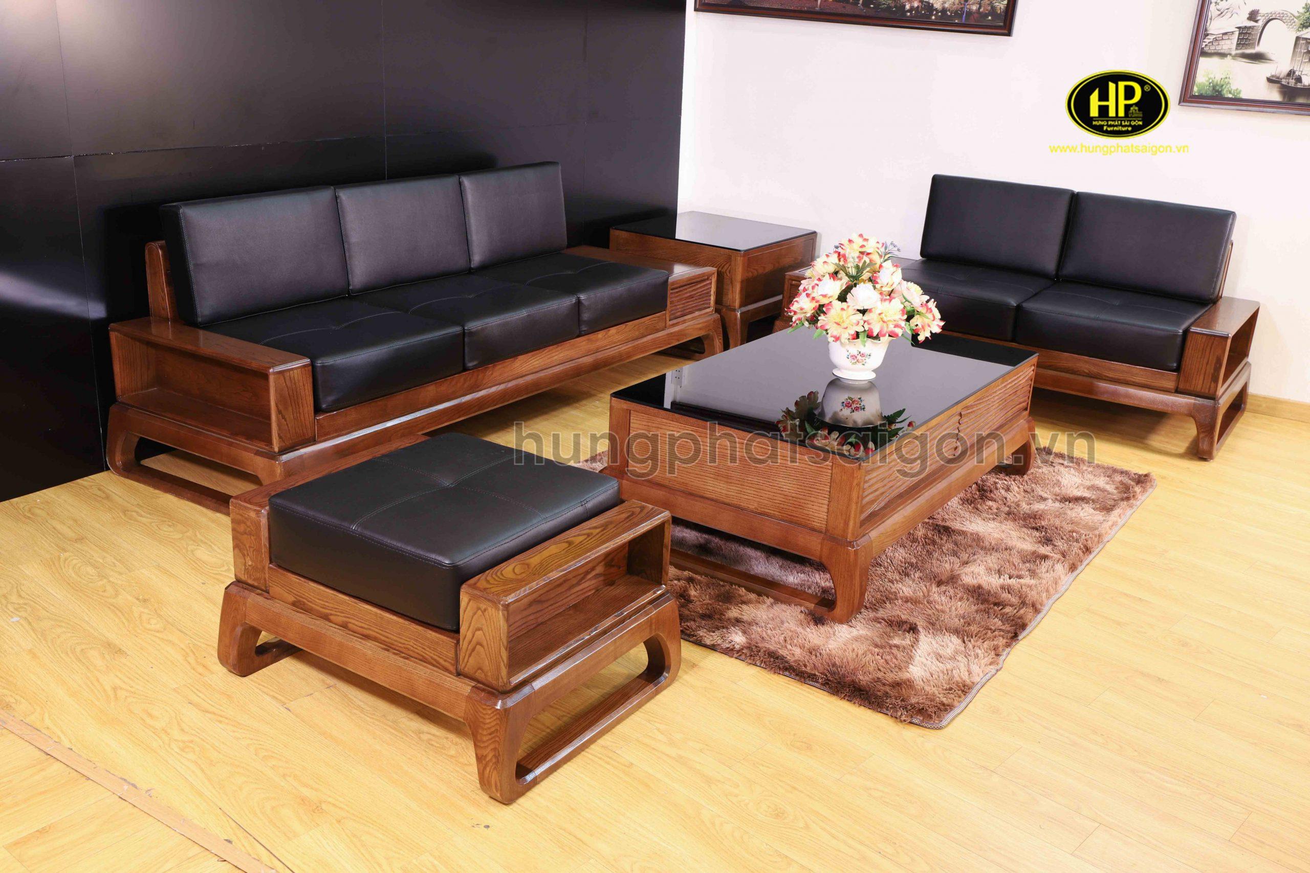Ghế sofa gỗ sồi cao cấp HS-19A