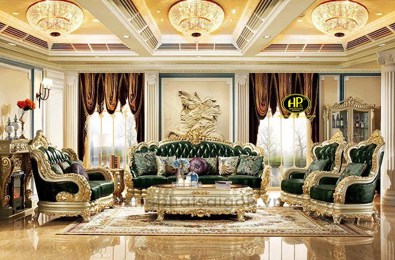 Sofa tân cổ điển dát vàng màu ngọc bích M-315B