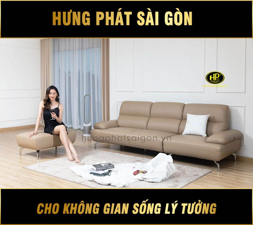 Sofa băng da cho phòng khách nhỏ H-194