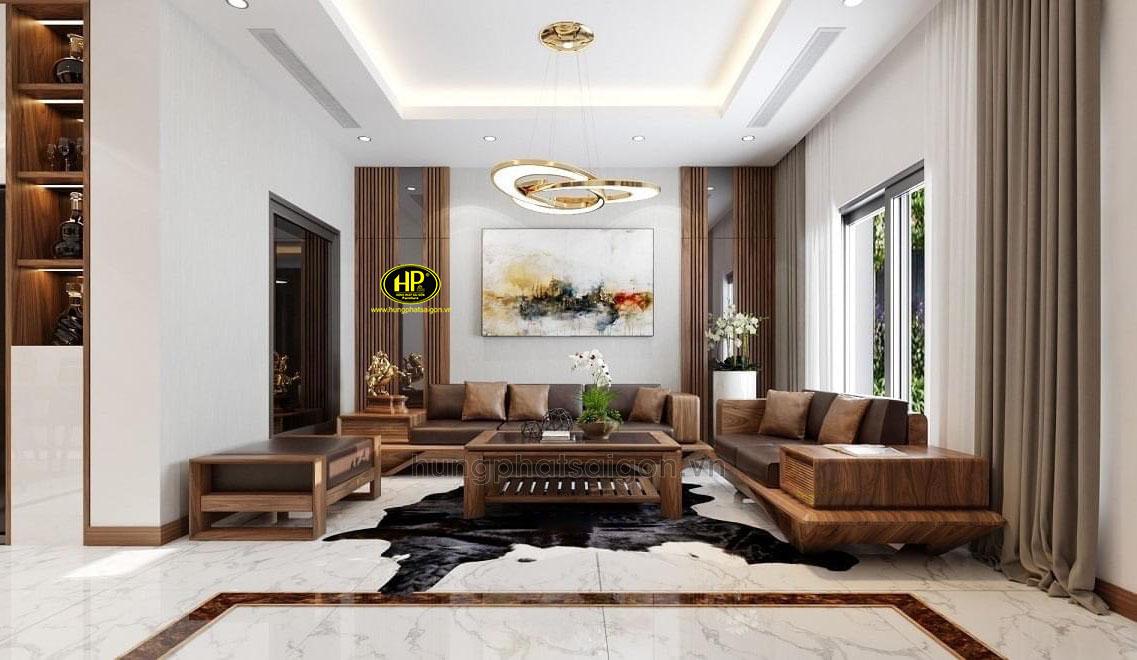 Sofa gỗ óc chó cao cấp HO-02