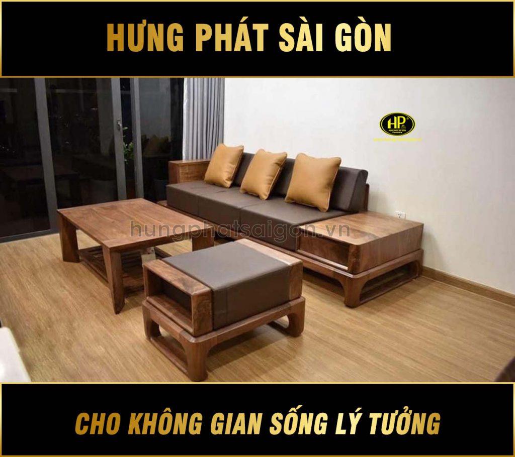 Sofa gỗ sồi Nga hiện đại HS-07
