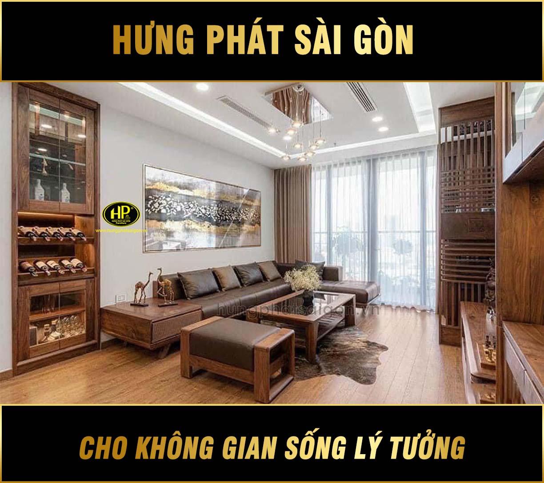 Sofa gỗ sồi góc L cao cấp HS-01