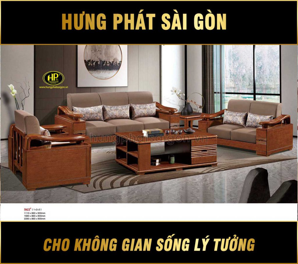 Sofa gỗ xoan đào phòng khách hiện đại AT-963