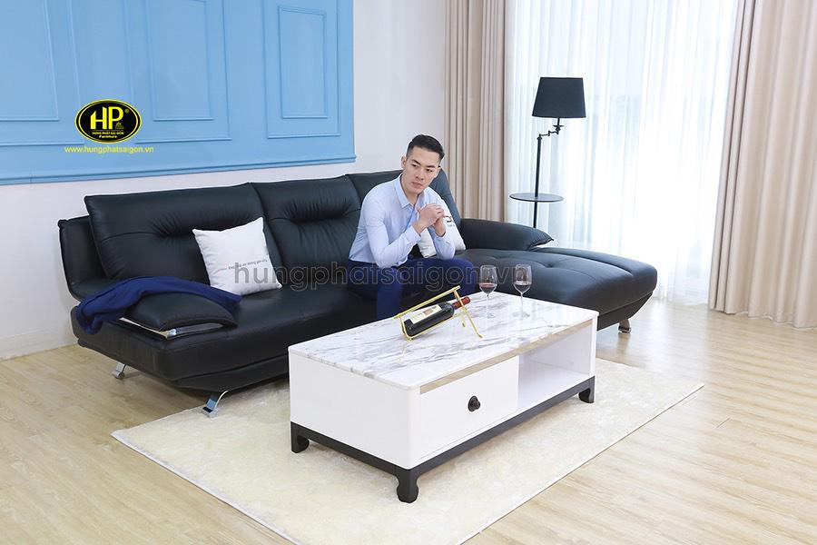 Sofa góc da cho phòng khách nhỏ HD-73