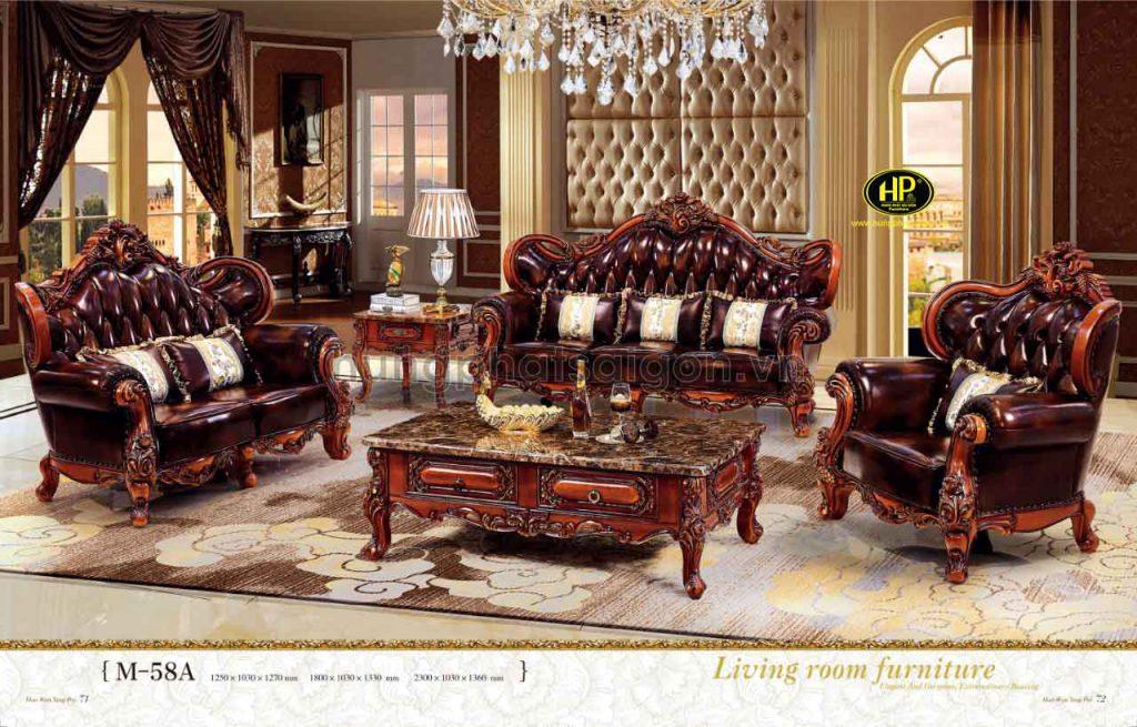 Chất liệu được sử dụng thường là khung gỗ tự nhiên kết hợp với da bò cao cấp, vải nỉ hoặc vải nhung
