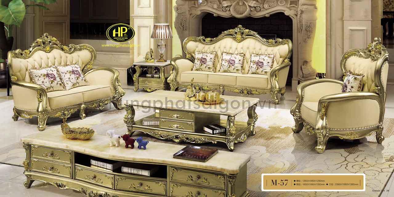 Sofa có dát vàng phong cách tân cổ điển được rất nhiều người yêu thích