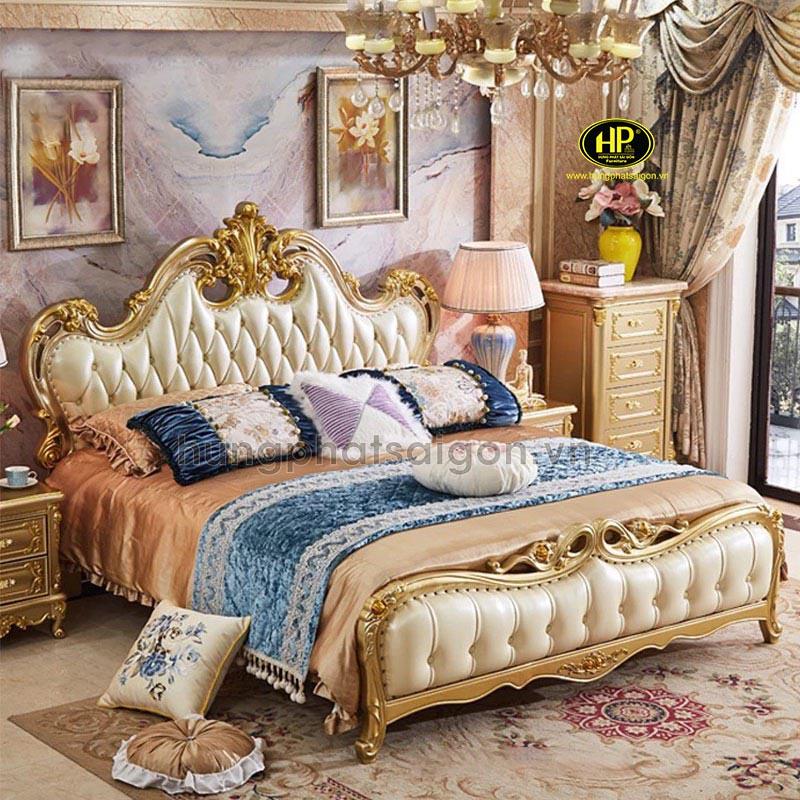giường ngủ tân cổ điển dát vàng