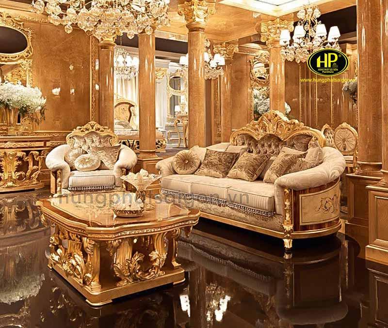 Sofa tân cổ điển dát vàng cao cấp M-01