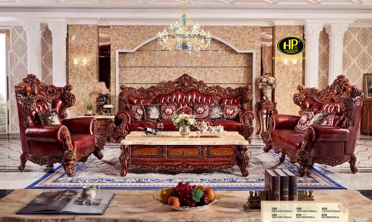 Sofa tân cổ điển gỗ hương đỏ cao cấp 588