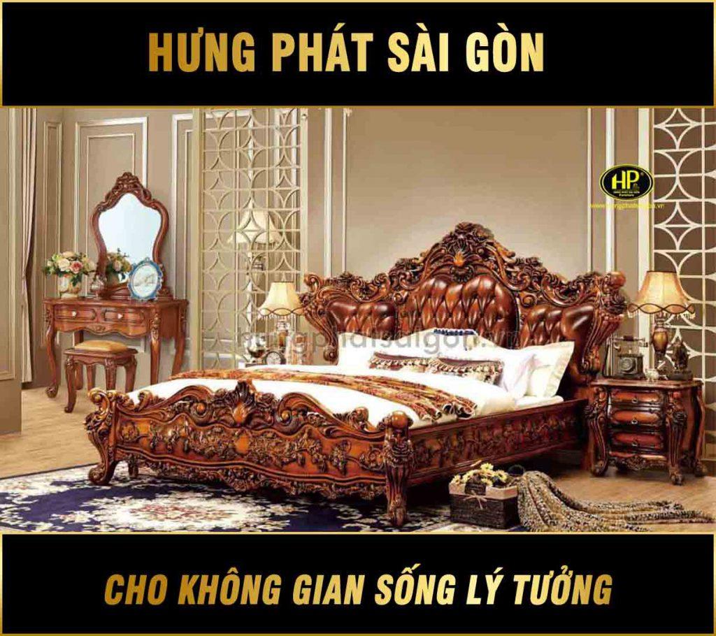 Combo giường ngủ tân cổ điển cao cấp 558