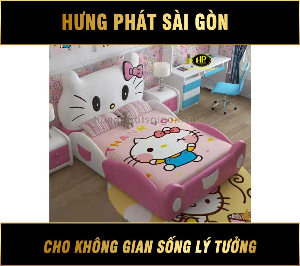 Giường ngủ bọc da Hello Kitty cho bé gái GTE-02