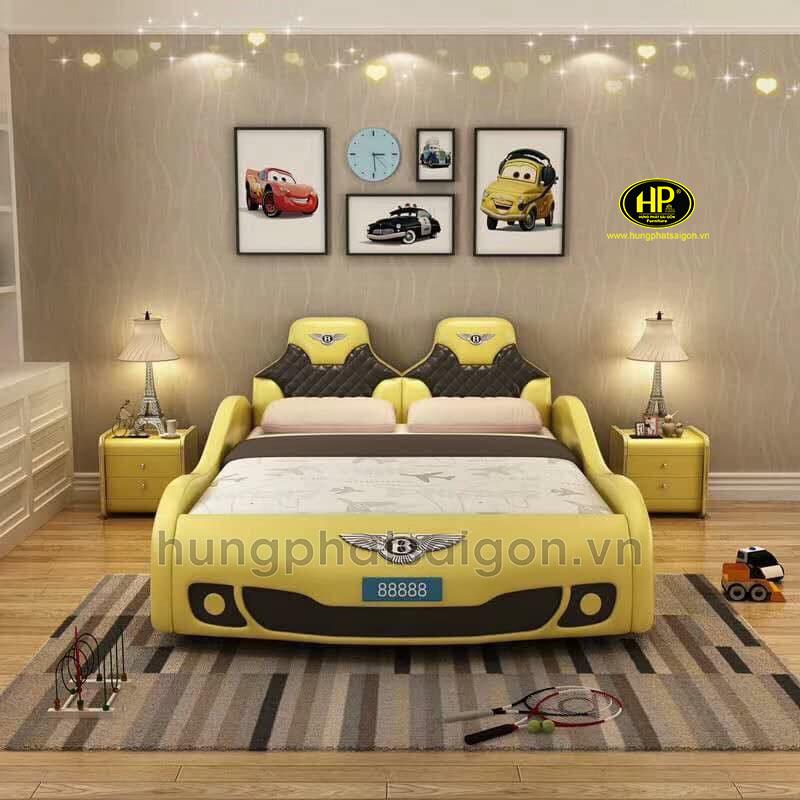 Giường ngủ bọc da xe hơi cho bé giá rẻ GTE-03