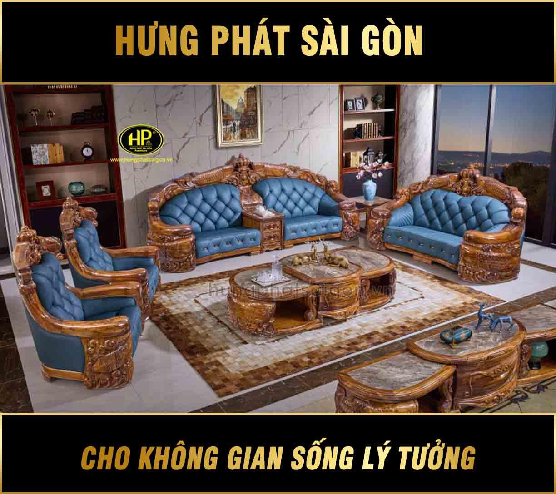 Sofa tân cổ điển gỗ mun Nam Phi cao cấp M-A28