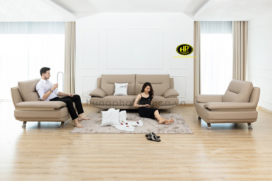 Sofa công trình phòng khách đẹp phong cách hiện đại làm không gian trở nên nhẹ nhàng, tinh tế