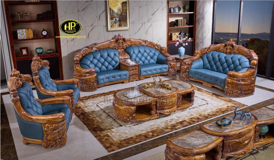 Sofa tân cổ điển gỗ mun Nam Phi cao cấp A-28