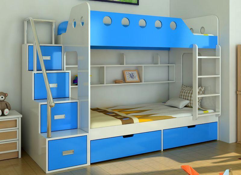 Thiết kế nội thất phòng ngủ bé trai chủ đề biển với giường tầng đẹp