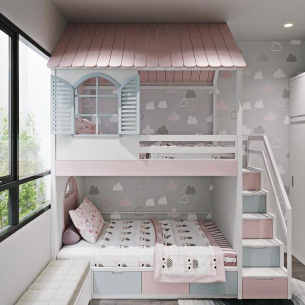 Giường 2 tầng cho bé xinh xắn