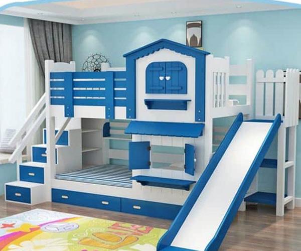 Giường tầng trẻ em màu xanh dương cá tính