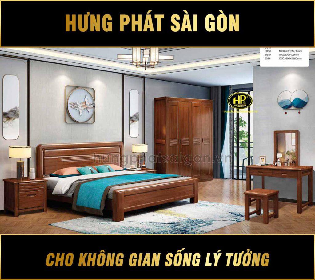 Combo nội thất phòng ngủ bằng gỗ sang trọng TP-H02